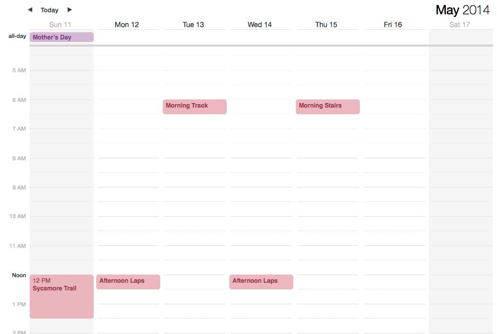 Publishing your Calendar: Access your workouts on your mobile device
