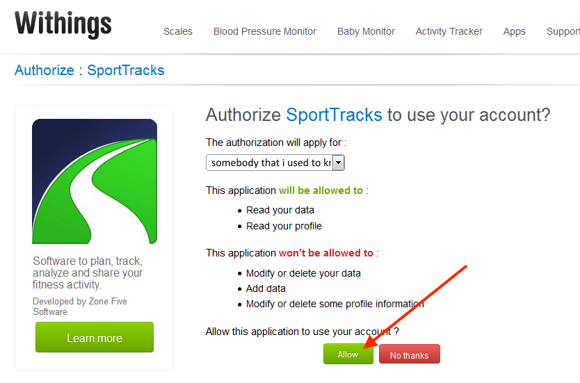 Set Up Your Withings Integration | SportTracks