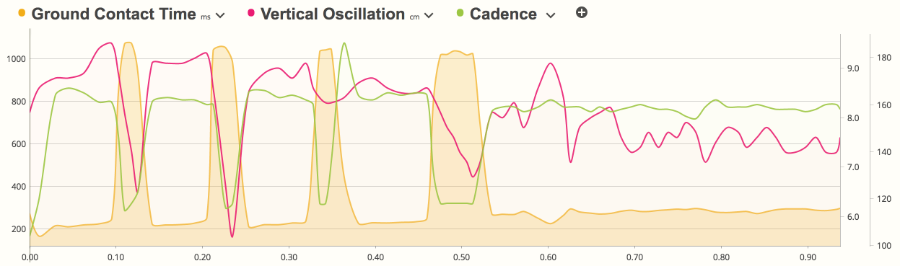 A screenshot of SportTracks fitness tracking software showing running dynamics metrics