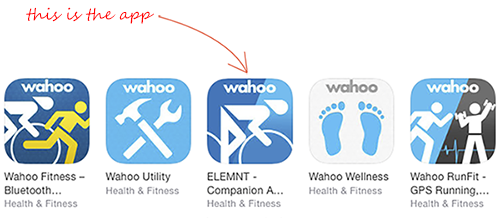 An image of the app icons from Wahoo Fitness