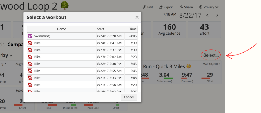 The workout comparison select tool in SportTracks fitness software