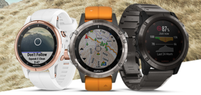 A photograph of the new Garmin Fenix 5 Plus sports watches
