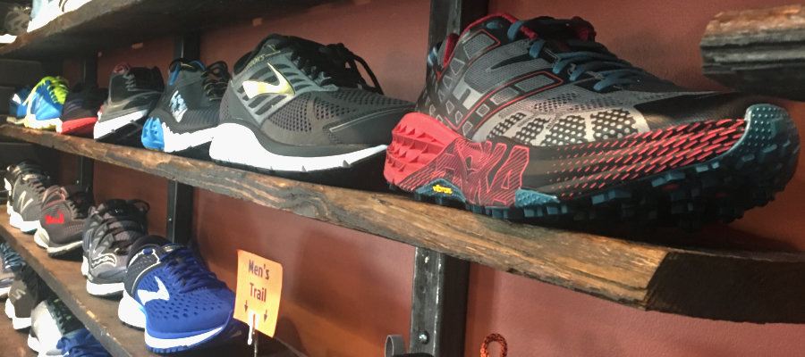 Running shoes on display at a store