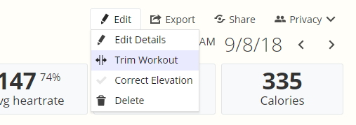 A screenshot of the Workout Detail page of SportTracks fitness software showing the new Trim Workout tool