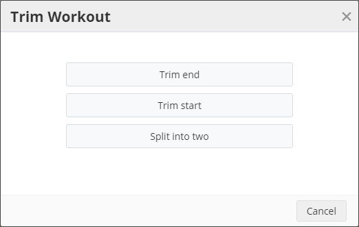 A screenshot of the new Trim Workout window in SportTracks fitness software