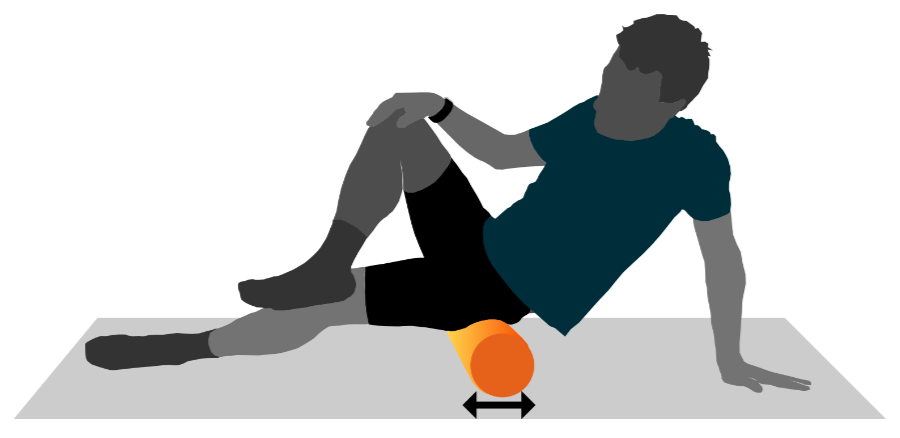 A graphic illustration of a person using a foam roller on their glutes