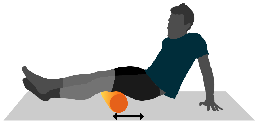 A graphic illustration of a person using a foam roller on their hamstring muscles