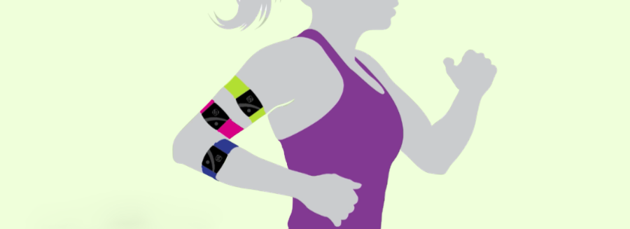 A graphic illustration of a female wearing three Scosche Rhythm 24 heart-rate monitor