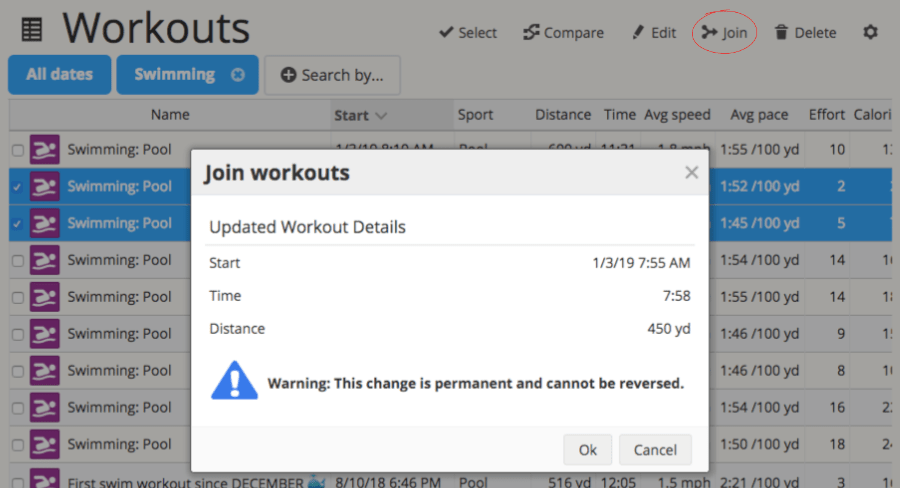 A screenshot of SportTracks endurance sports training software showing the Join Workouts dialog box