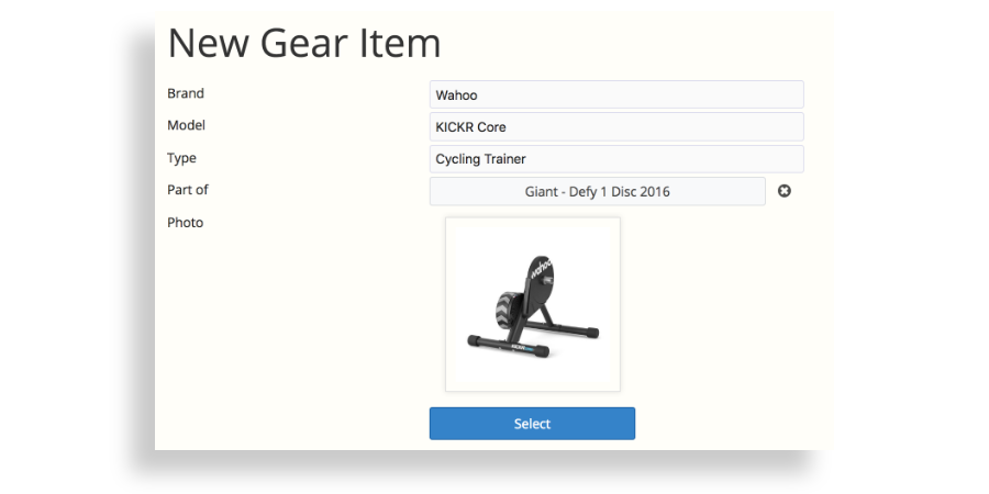 A screenshot of SportTracks endurance sports training software showing a Wahoo KICKR Core being added to the Gear Tracking page
