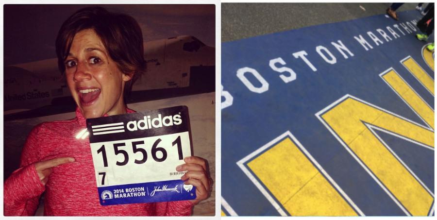 A photograph of runner Ellen Moss from the 2014 Boston Marathon