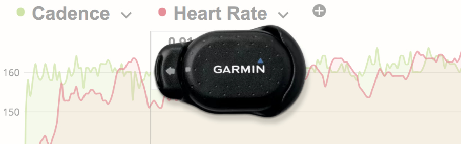 The Garmin Food Pod running sensor with a screenshot of SportTracks training software