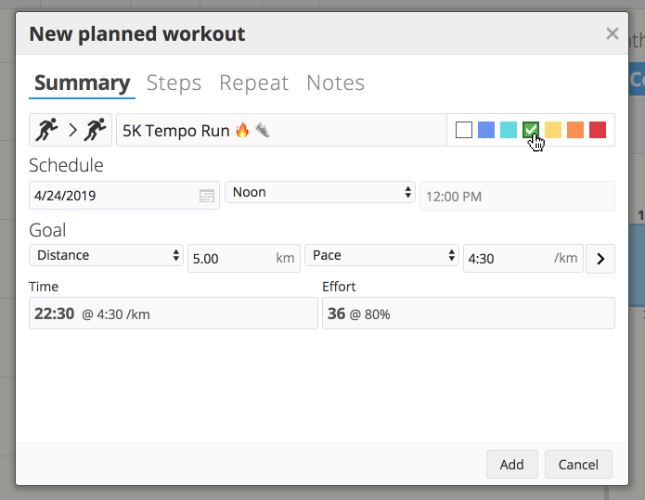 The dialog box for creating a new planned workout in SportTracks endurance sports training software