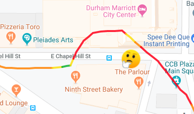 The map from a run with the Garmin Forerunner 245 watch with an emoji