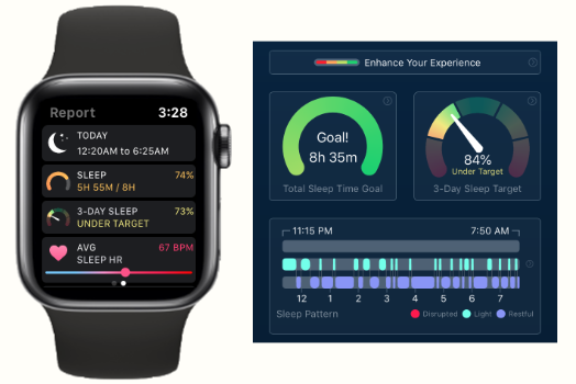 The SleepWatch app on Apple Watch and iPhone