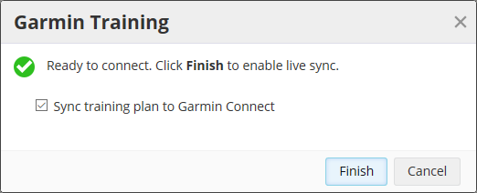 A screenshot of SportTracks endurance sports software showing the confirmation screen that it's connected to Garmin Training