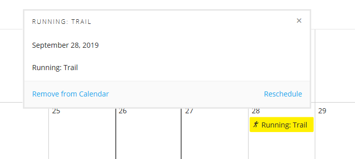 A screenshot of the calendar in Garmin Connect with a SportTracks workout in it