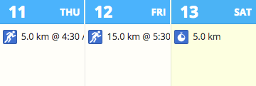 A screenshot of the monthly calendar view in SportTracks showing three planned workouts in a training plan