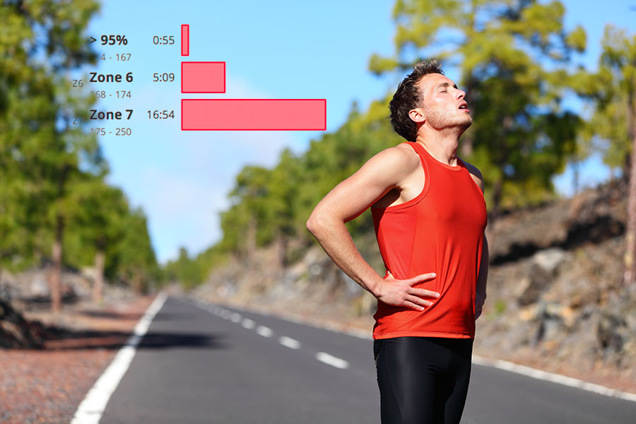 A photograph of a man outdoors in a red tank top drenched in sweat, with a graphical overlay of SportTracks endurance sports software