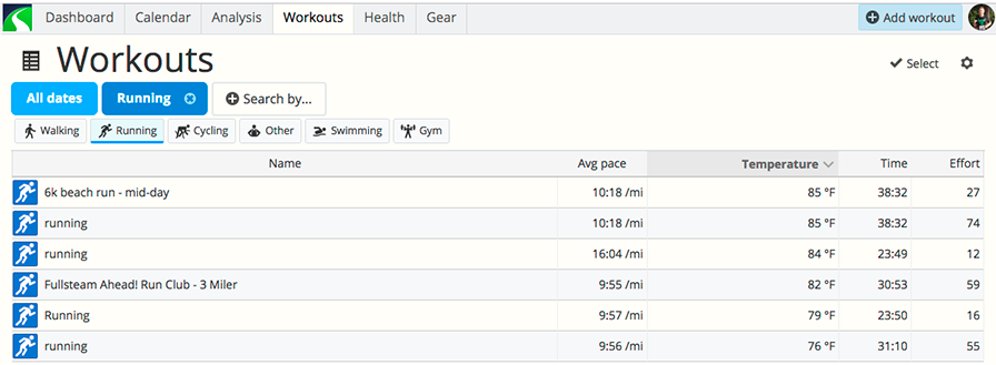 A screenshot of SportTracks endurance sports software showing the workout screen where you can compare the temperature of activities in your training log