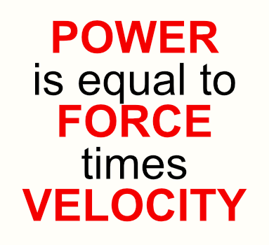 Equation used to calculate power in cycling and running: power is equal to force times velocity