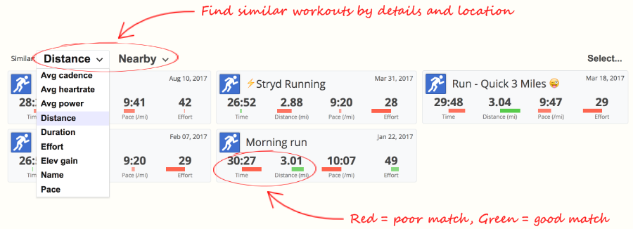 An image of the workout comparison selector in SportTracks