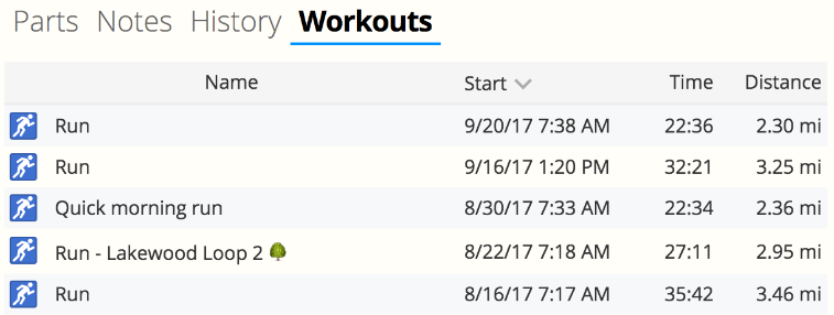 A screenshot of the new gear workouts tab in SportTracks endurance sports training software