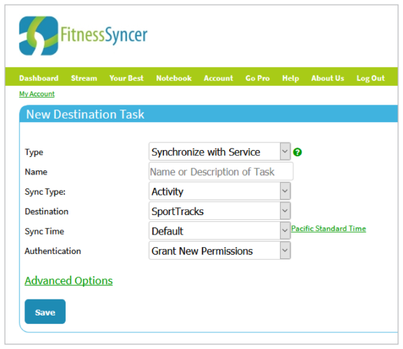 A screenshot of FitnessSyncer software