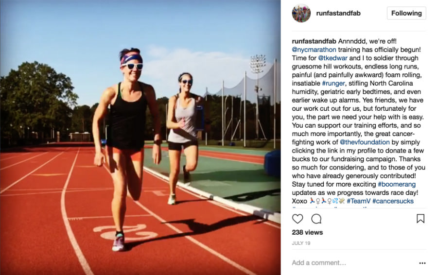 An Instagram photo of two women running track