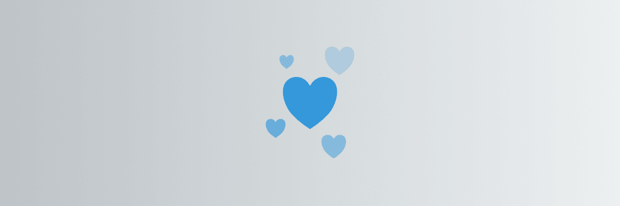 An illustration of blue hearts on a gray background