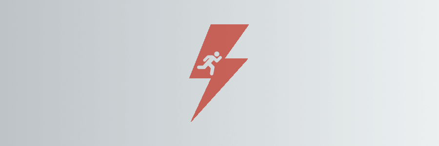 An illustration of a lightning bolt with a running icon inside of it