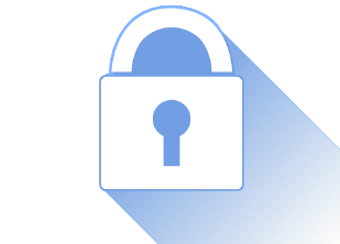 A blue graphic of a lock icon with a long shadow