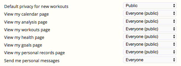 The numerous privacy settings options in SportTracks fitness tracking software