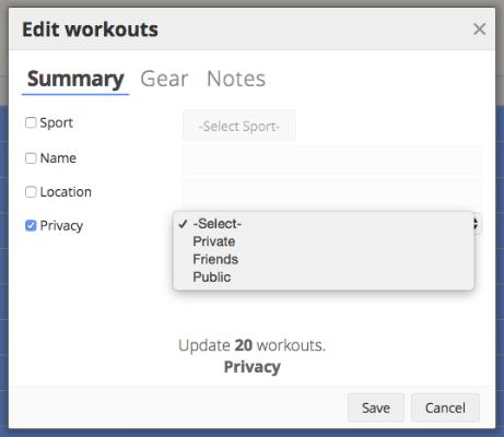 The bulk workout edit screen in SportTracks endurance sports training software