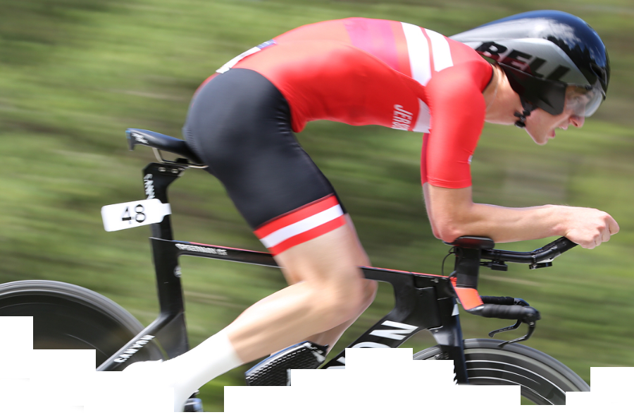 A cyclist competing in a time trial race