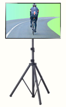 A TV on a tripod stand with a road cyclist on the screen