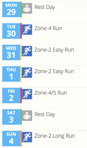 A screenshot of the training calendar in SportTracks endurance sports software