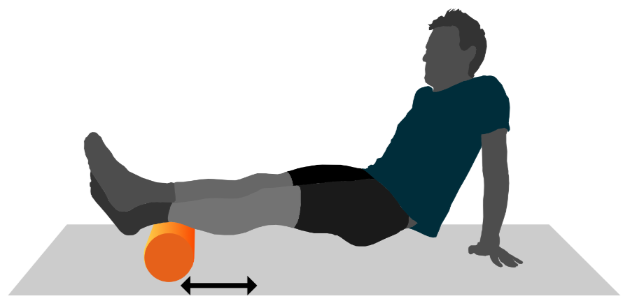 A graphic illustration of a person using a foam roller on their calves