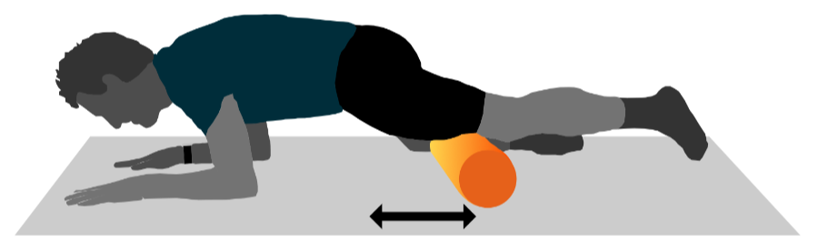 A graphic illustration of a person using a foam roller on their quads