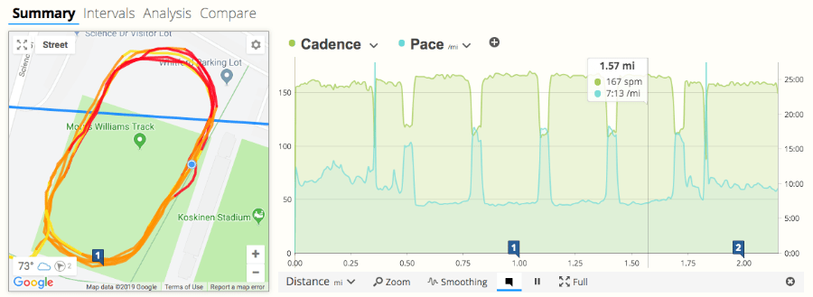 A screen-shot of SportTracks endurance sports training software showing cadence and pace data