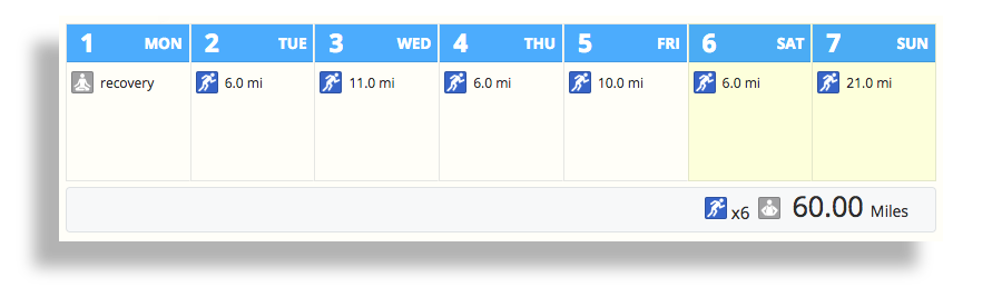 The training calendar from SportTracks endurance sports training software showing a week of Boston Marathon planned workouts