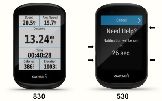 The face of the Garmin Edge 830 compared to the face of the Garmin Edge 530