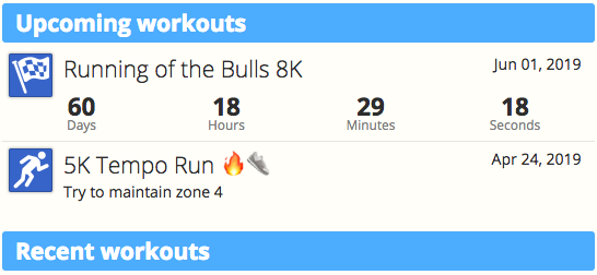 The Upcoming Workouts module from the Dashboard of SportTracks endurance sports training software showing the countdown of an upcoming running race and a planned 5K tempo run workout