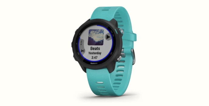 The Garmin Forerunner 245 sports watch with aqua band