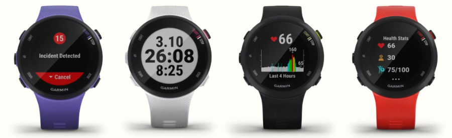 The Garmin Forerunner 45S and 45 in purple, white, black, and Red