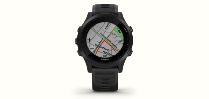 The Garmin Forerunner 945 with a map on its screen