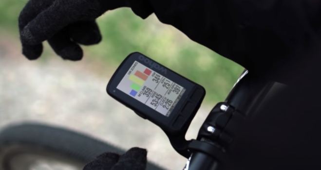 The Wahoo ELEMNT Roam on a road bike with HR zones displayed