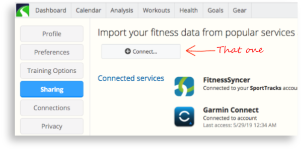The Sharing screen in SportTracks endurance sports software