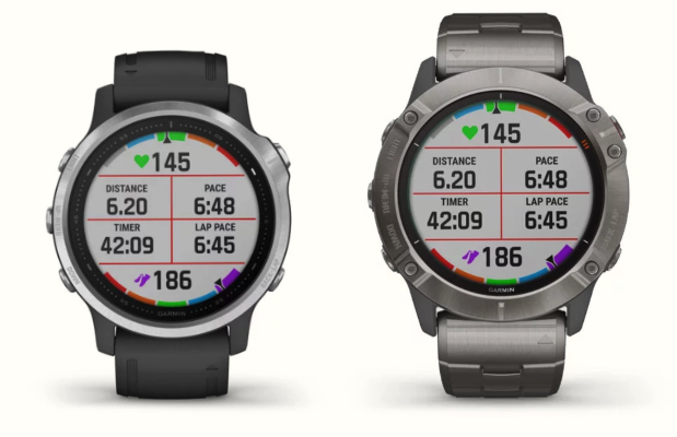 The black Garmin Fenix 6S next to the titanium Fenix 6X Pro Solar
