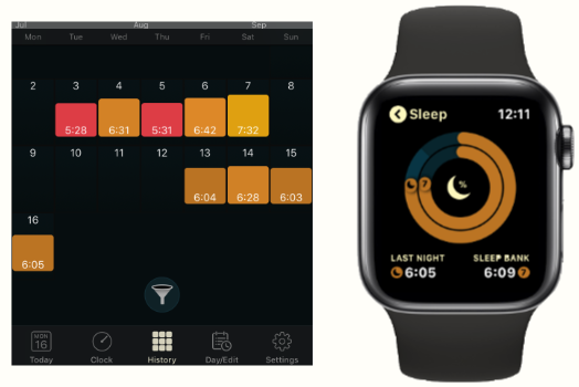 The AutoSleep app on an iPhone and the Apple Watch